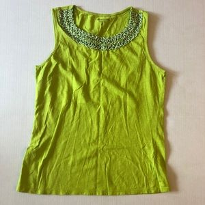 Coldwater Creek Lime Green Yellow Crochet Tank XS